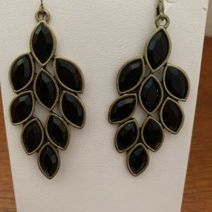 Avon Antiqued Leaf Chandelier Earrings Black